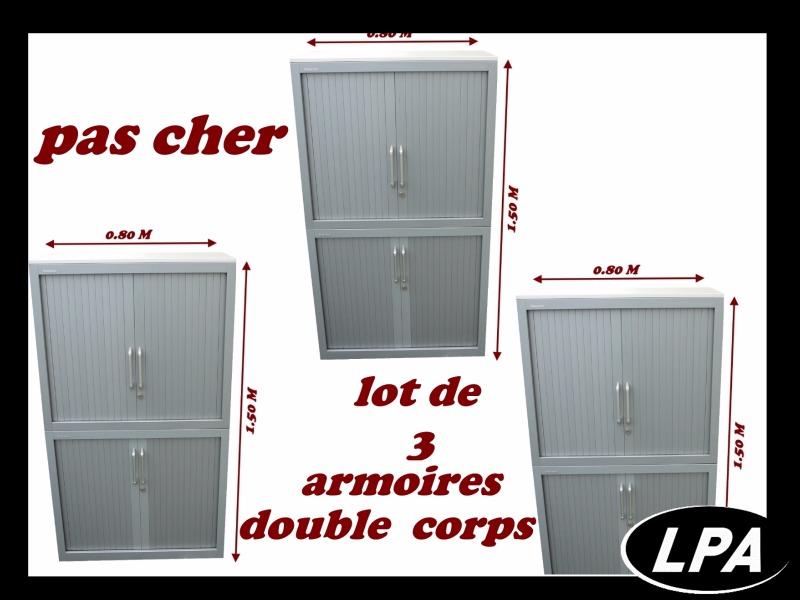 Lots mobilier de Bureau Lot De 3 Armoires Double Corps Steelcase 1