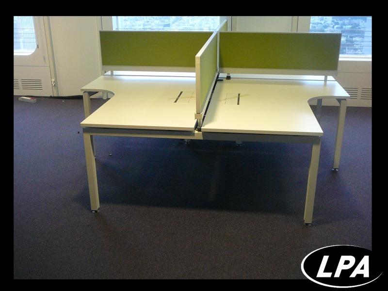Bench 4 personnes blanc compact bench mobilier de for Mobilier bureau 4 personnes