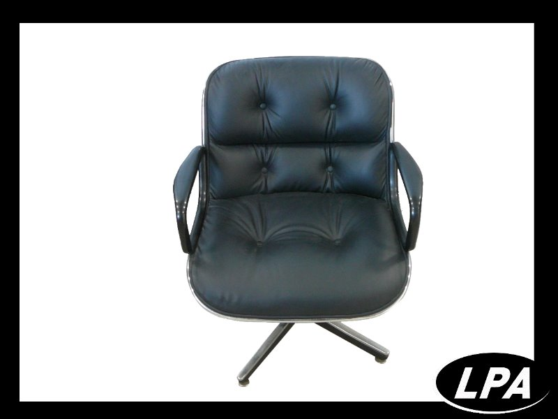 Fauteuil charles pollock cuir noir mobilier design for Mobilier design fauteuil