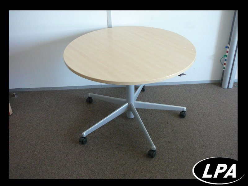 table ronde r glable sur roulette table mobilier de bureau lpa. Black Bedroom Furniture Sets. Home Design Ideas