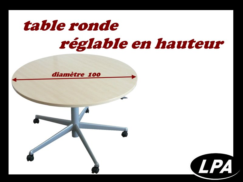 table ronde r glable sur roulette table mobilier de bureau lpa. Black Bedroom Furniture Sets. Home Design Ideas